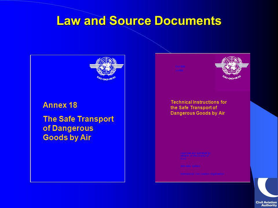 Inspections, surveillance and enforcement Inspections, surveillance and enforcement Record and investigate incidents/ accidents Record and investigate incidents/ accidents Compliance with Technical Instructions Compliance with Technical Instructions (JAR-OPS reflects 1999-2000 Technical Instructions) (JAR-OPS reflects 1999-2000 Technical Instructions) Annex 18 The Safe Transport of Dangerous Goods by Air International Civil Aviation Organisation International Standards and Recommended Practices Third Edition July 2001 Annex 18 to the Convention on International Civil Aviation THE REQUIREMENTS State responsibilities: