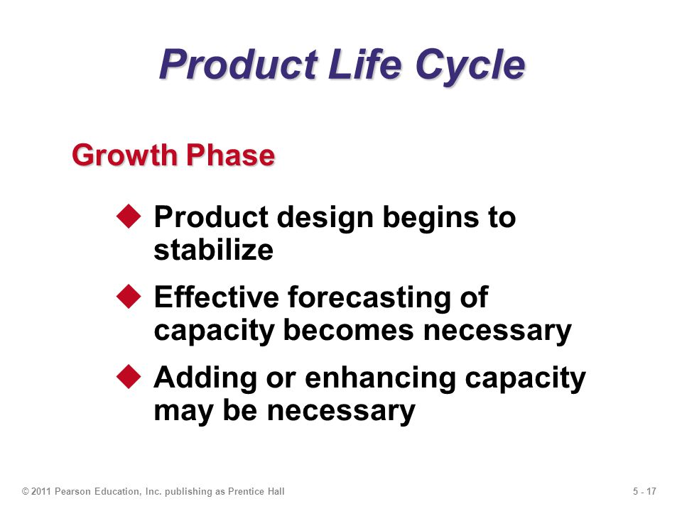 5 - 17© 2011 Pearson Education, Inc. publishing as Prentice Hall Product Life Cycle Growth Phase Product design begins to stabilize Effective forecast