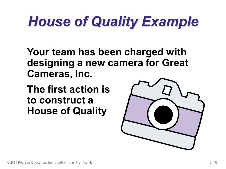 5 - 30© 2011 Pearson Education, Inc. publishing as Prentice Hall House of Quality Example Your team has been charged with designing a new camera for G