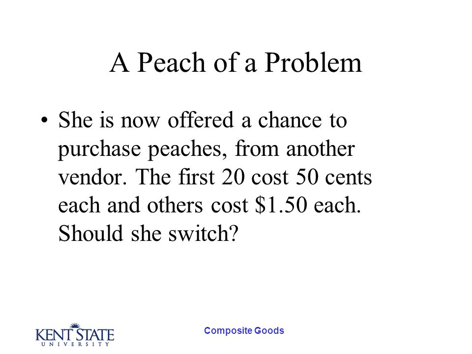 Composite Goods A Peach of a Problem She is now offered a chance to purchase peaches, from another vendor.