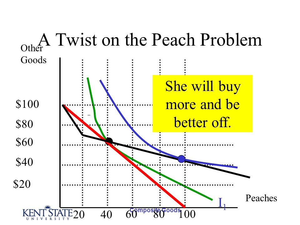 Composite Goods A Twist on the Peach Problem Other Goods Peaches I1I1 $100 $80 $60 $40 $20 2040 6080100 She will buy more and be better off.