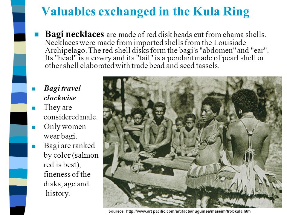 Copyright © Allyn & Bacon 2002 Valuables exchanged in the Kula Ring n Bagi necklaces are made of red disk beads cut from chama shells. Necklaces were