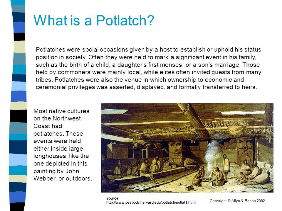 Copyright © Allyn & Bacon 2002 What is a Potlatch? Potlatches were social occasions given by a host to establish or uphold his status position in soci