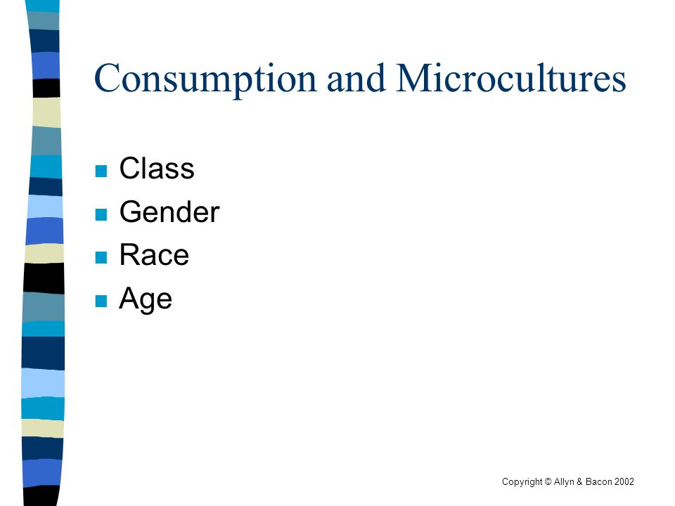 Copyright © Allyn & Bacon 2002 Consumption and Microcultures n Class n Gender n Race n Age