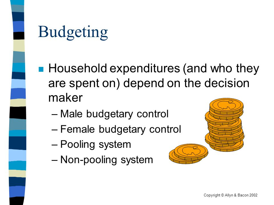 Copyright © Allyn & Bacon 2002 Budgeting n Household expenditures (and who they are spent on) depend on the decision maker –Male budgetary control –Fe