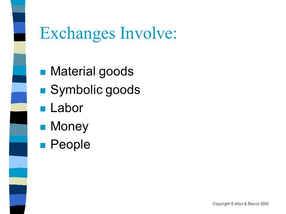 Copyright © Allyn & Bacon 2002 Exchanges Involve: n Material goods n Symbolic goods n Labor n Money n People