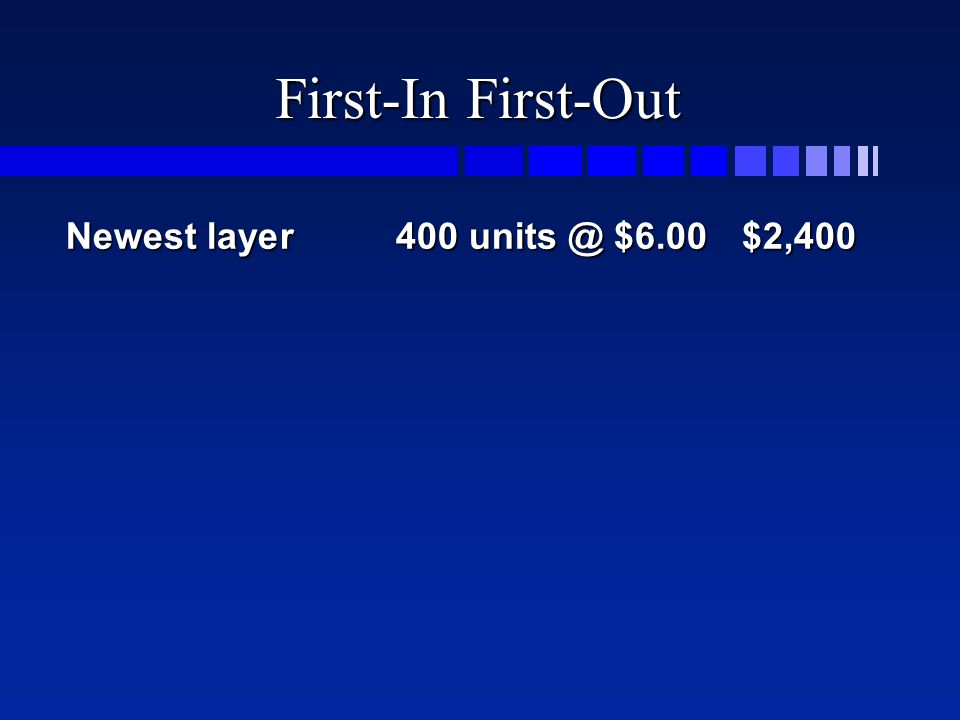 First-In First-Out Newest layer400 units @ $6.00$2,400