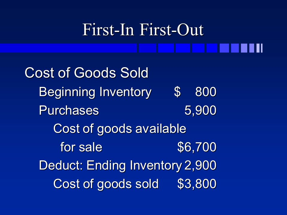 First-In First-Out Cost of Goods Sold Beginning Inventory$ 800 Purchases5,900 Cost of goods available for sale$6,700 Deduct: Ending Inventory2,900 Cost of goods sold$3,800