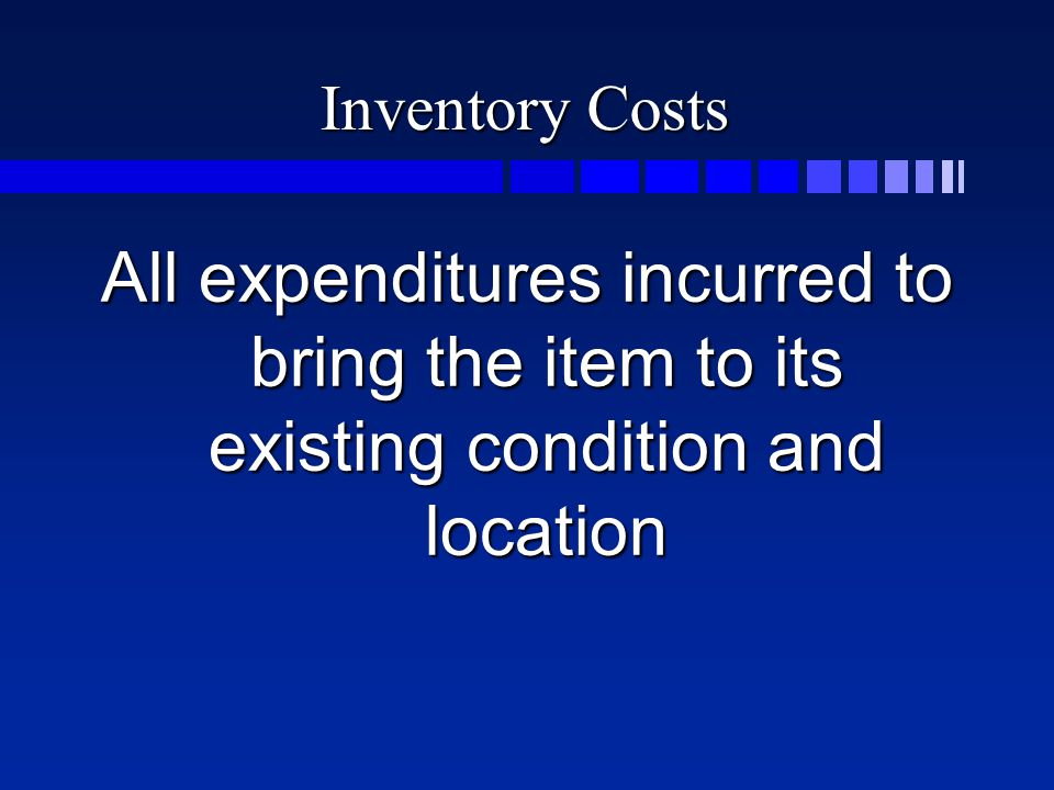 Costs include n Invoice cost n Shipping n Cash discounts n Purchases allowances