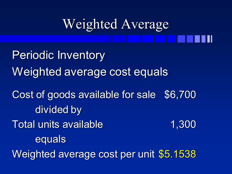 Weighted Average Periodic Inventory Weighted average cost equals Cost of goods available for sale$6,700 divided by Total units available1,300 equals W