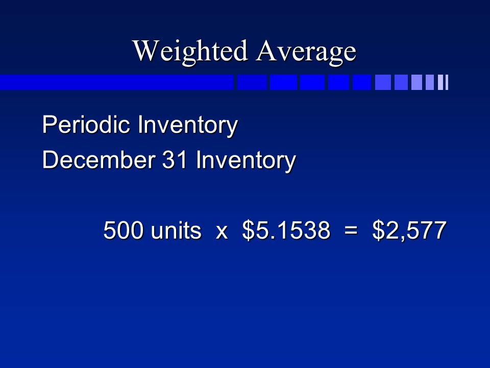 Weighted Average Periodic Inventory December 31 Inventory 500 units x $5.1538 = $2,577 500 units x $5.1538 = $2,577