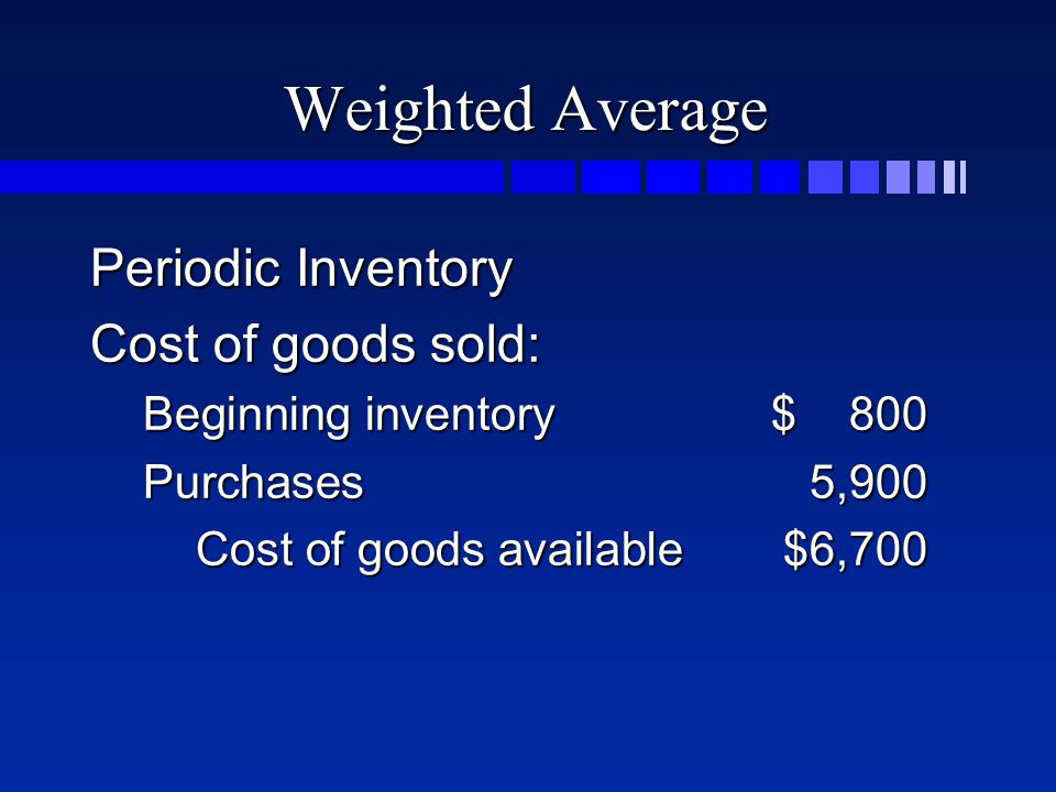 Weighted Average Periodic Inventory Cost of goods sold: Beginning inventory$ 800 Purchases5,900 Cost of goods available$6,700