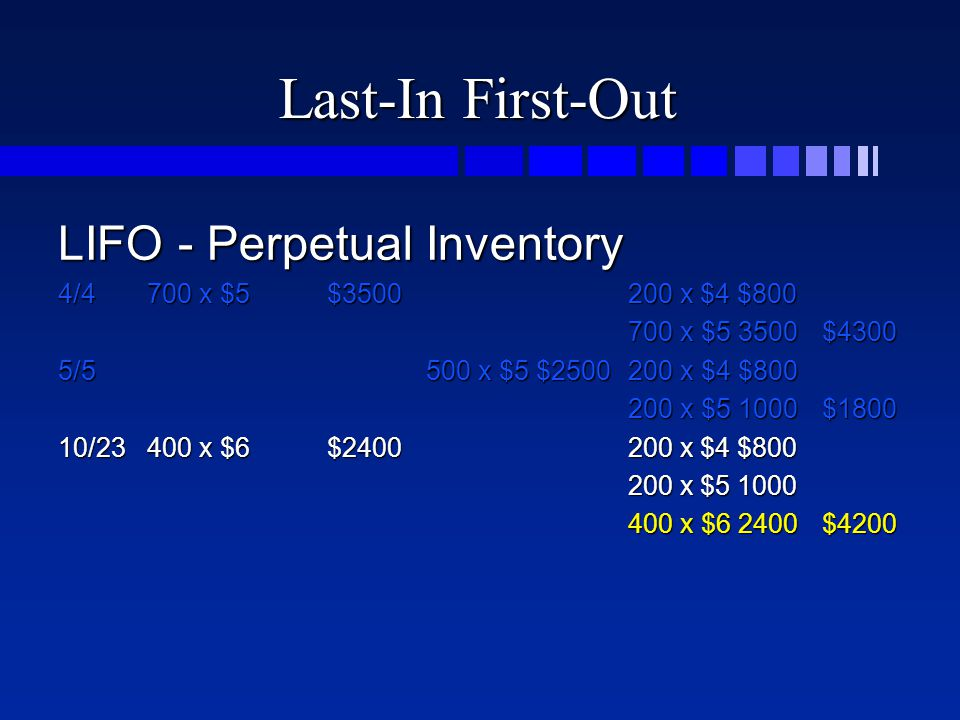 Last-In First-Out LIFO - Perpetual Inventory 4/4700 x $5$3500200 x $4 $800 700 x $5 3500$4300 5/5500 x $5 $2500200 x $4 $800 200 x $5 1000$1800 10/234
