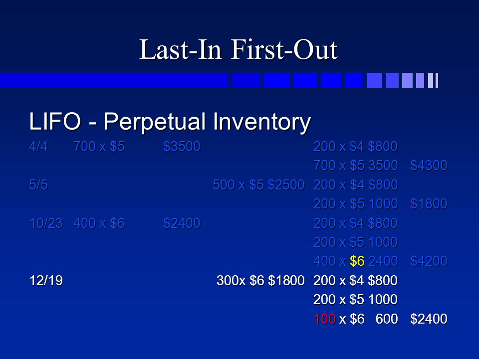 Last-In First-Out LIFO - Perpetual Inventory 4/4700 x $5$3500200 x $4 $800 700 x $5 3500$4300 5/5500 x $5 $2500200 x $4 $800 200 x $5 1000$1800 10/23400 x $6$2400200 x $4 $800 200 x $5 1000 400 x $6 2400$4200 12/19300x $6 $1800200 x $4 $800 200 x $5 1000 100 x $6 600$2400