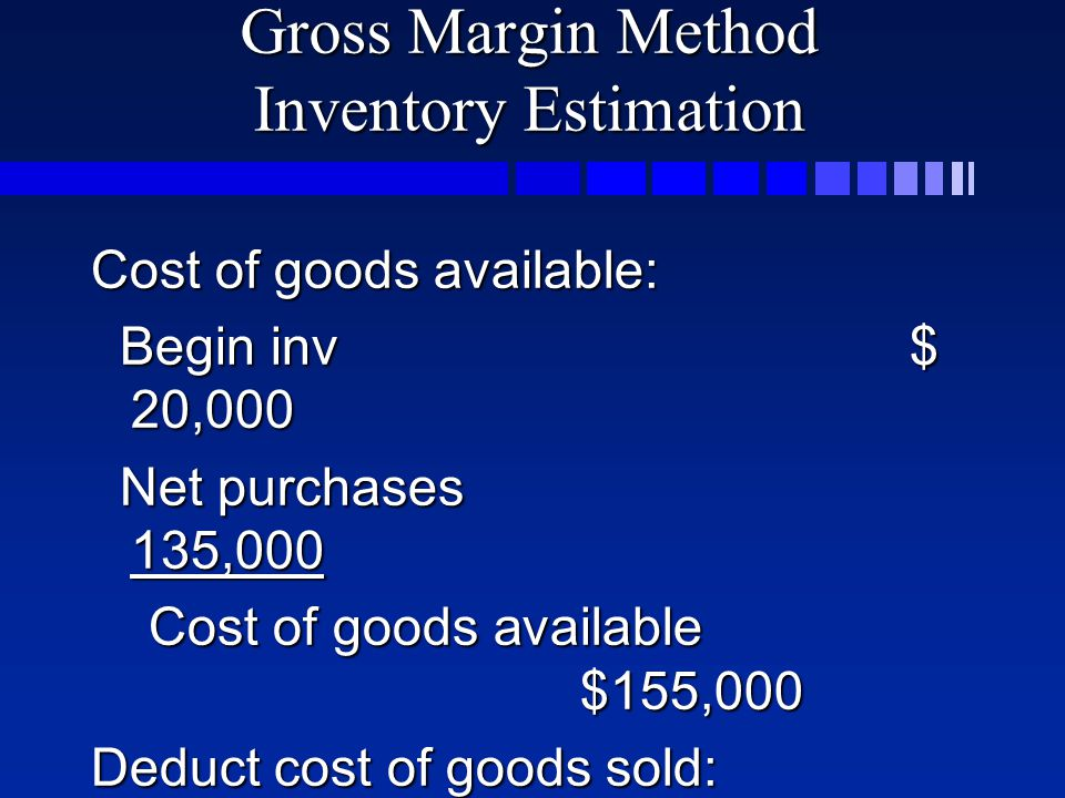 Gross Margin Method Inventory Estimation Cost of goods available: Begin inv$ 20,000 Begin inv$ 20,000 Net purchases 135,000 Net purchases 135,000 Cost