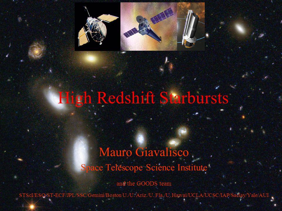 GOODS: Great Observatories Origins Deep Survey SIRTF Imaging GOODS sensitivity 0.11 26.3 0.21 25.6 1.35 23.6 1.66 23.4 20.0 20.7 5- σ limiting flux μ Jy 5- σ limiting AB mag