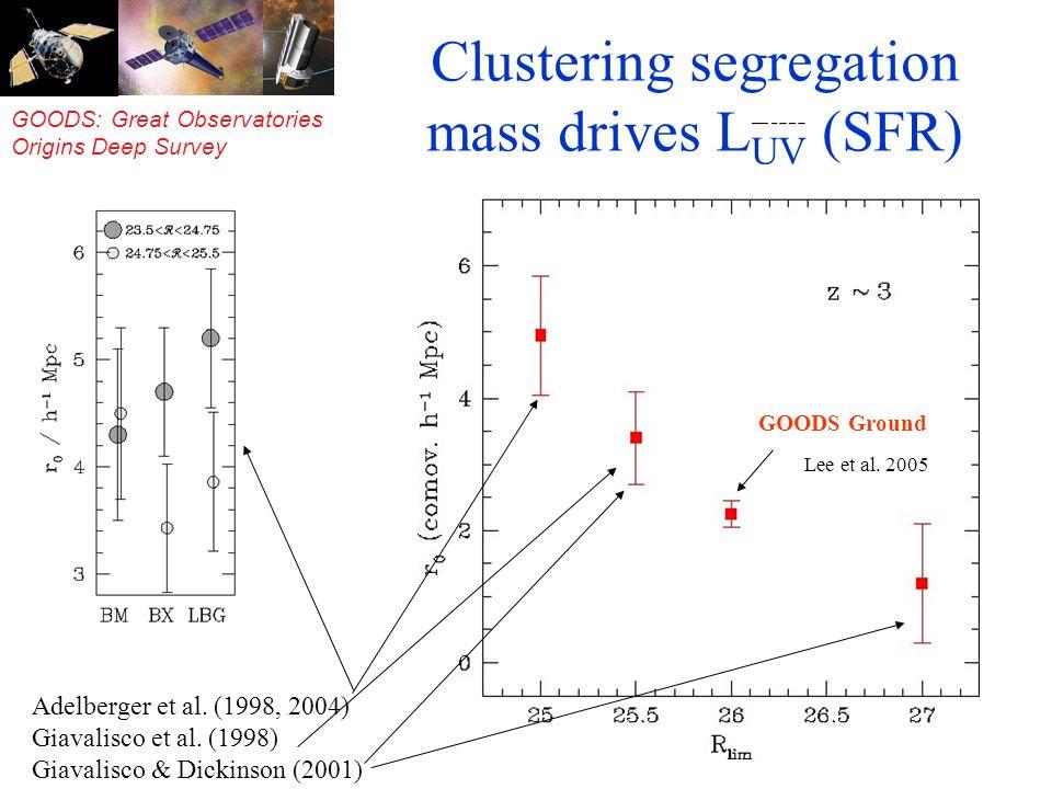 GOODS: Great Observatories Origins Deep Survey Clustering segregation mass drives L UV (SFR) Adelberger et al.