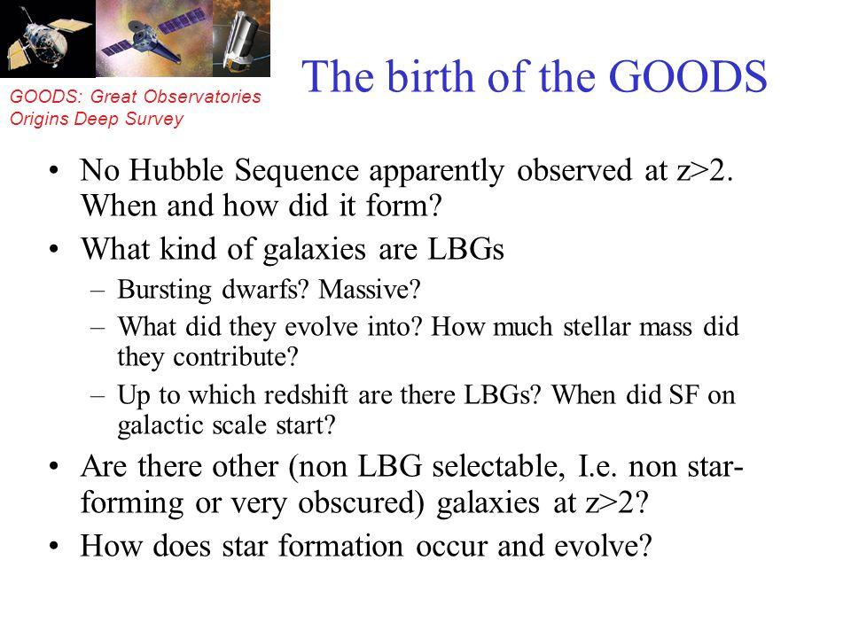 GOODS: Great Observatories Origins Deep Survey Different populations.
