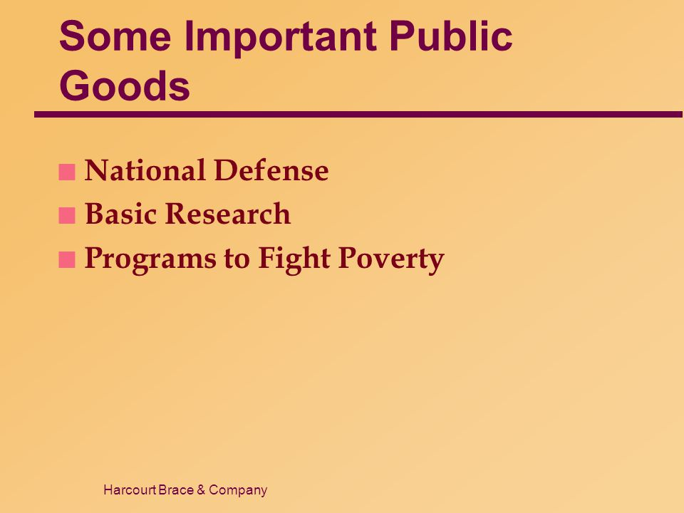 Harcourt Brace & Company Some Important Public Goods n National Defense n Basic Research n Programs to Fight Poverty