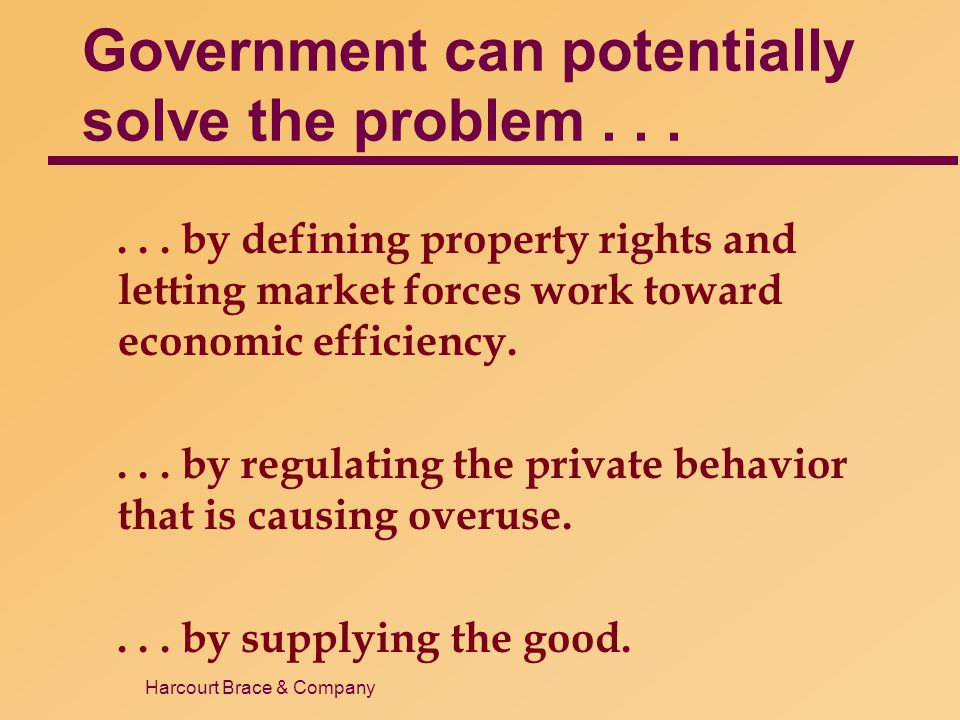 Harcourt Brace & Company Government can potentially solve the problem...... by defining property rights and letting market forces work toward economic