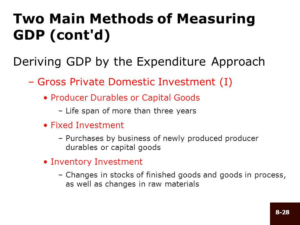 8-28 Two Main Methods of Measuring GDP (cont'd) Deriving GDP by the Expenditure Approach –Gross Private Domestic Investment (I) Producer Durables or C