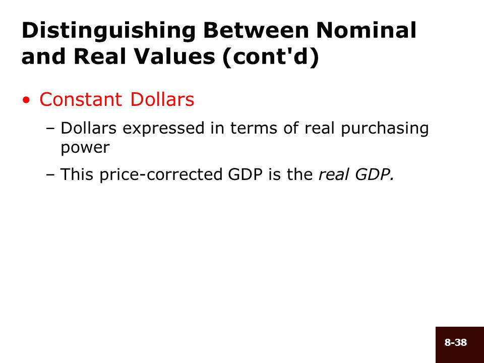 8-38 Distinguishing Between Nominal and Real Values (cont'd) Constant Dollars –Dollars expressed in terms of real purchasing power –This price-correct