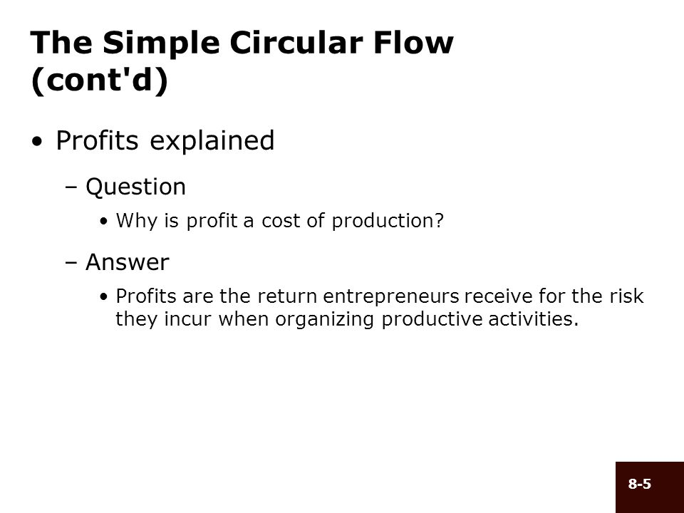 8-5 The Simple Circular Flow (cont'd) Profits explained –Question Why is profit a cost of production? –Answer Profits are the return entrepreneurs rec