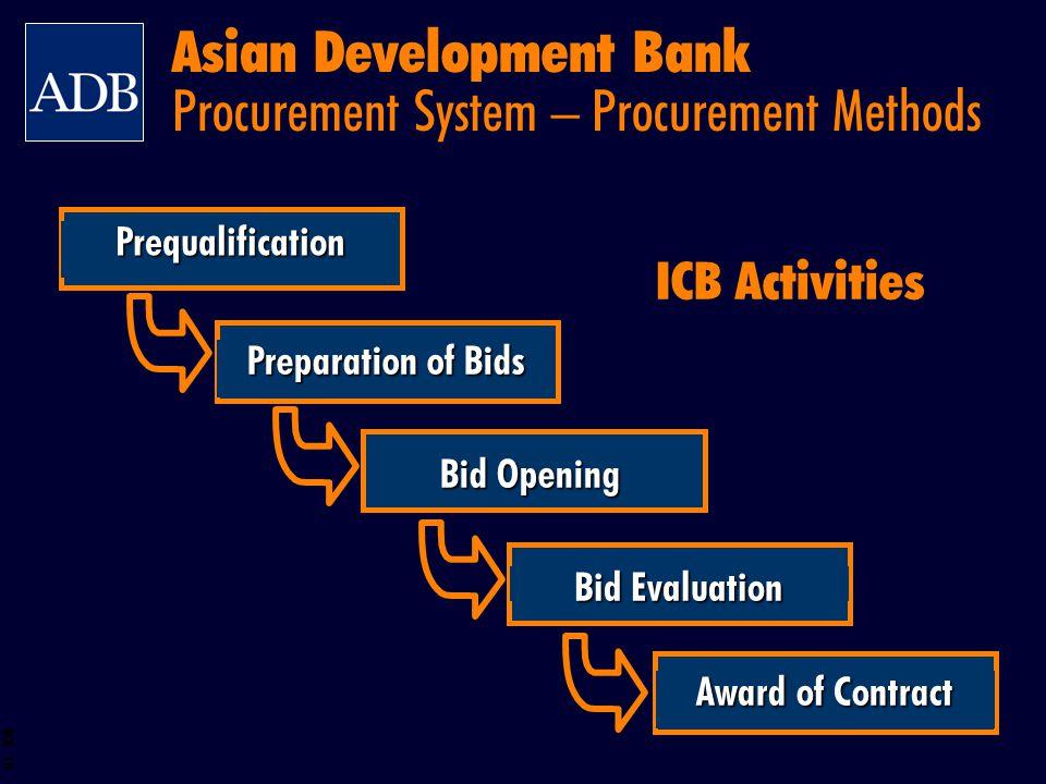 BOS 10 Preparation of Bids Bid Opening Bid Evaluation Award of Contract Prequalification ICB Activities Asian Development Bank Procurement System – Pr