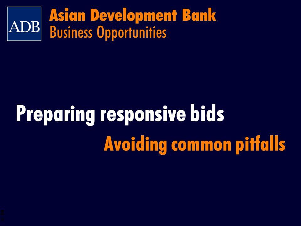 BOS 27 Asian Development Bank Business Opportunities Preparing responsive bids Avoiding common pitfalls