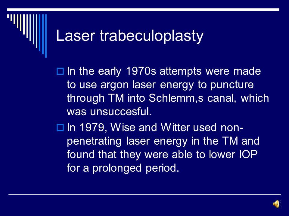 Laser surgical treatment in glaucoma Laser trabeculoplasty Laser peripheral iridotomy Laser iridoplasty Laser cyclophotocoagulation
