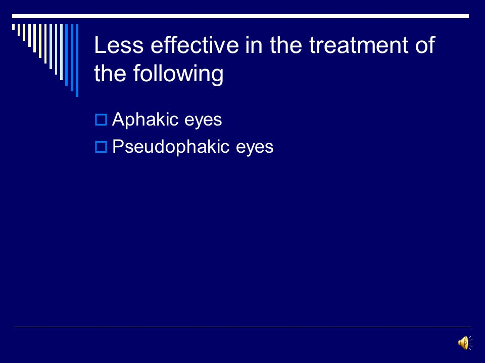 Indications for laser terabeculoplasty Effective in the treatment of the following: 1- primary open-angle glaucoma 2- exfoliative glaucoma 3- pigmenta