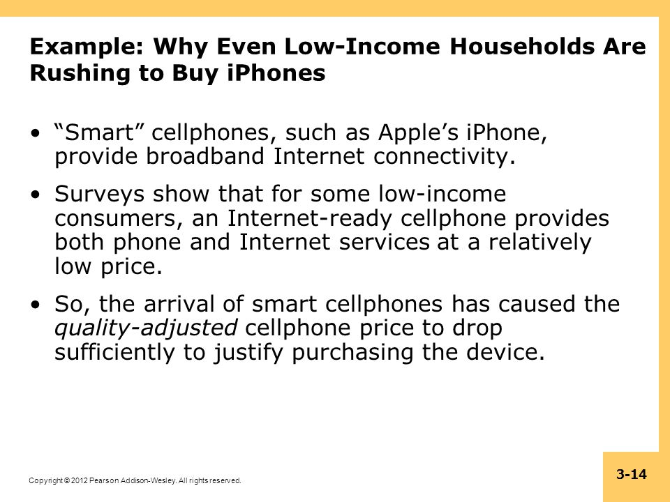 Copyright © 2012 Pearson Addison-Wesley. All rights reserved. 3-14 Example: Why Even Low-Income Households Are Rushing to Buy iPhones Smart cellphones
