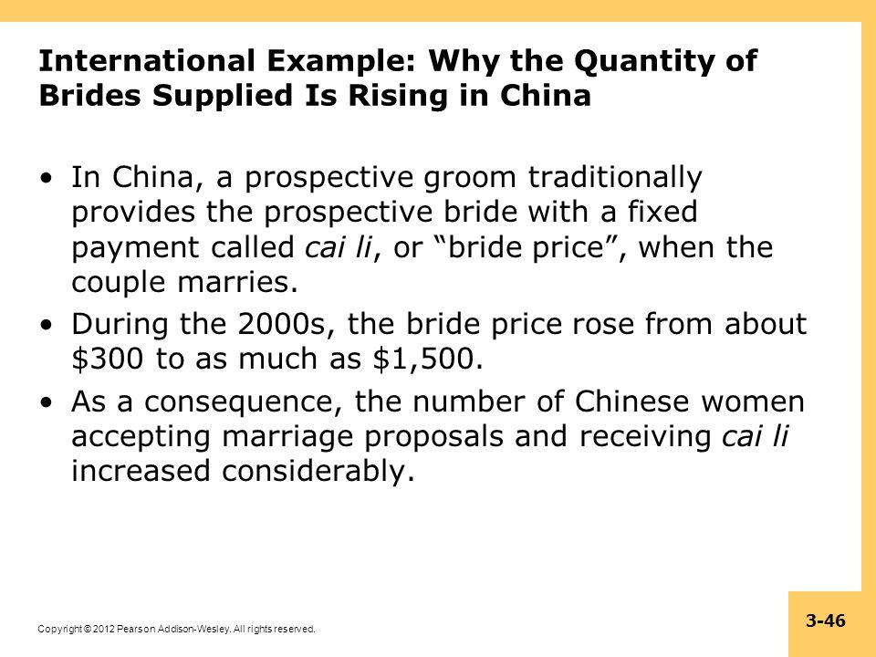 Copyright © 2012 Pearson Addison-Wesley. All rights reserved. 3-46 International Example: Why the Quantity of Brides Supplied Is Rising in China In Ch