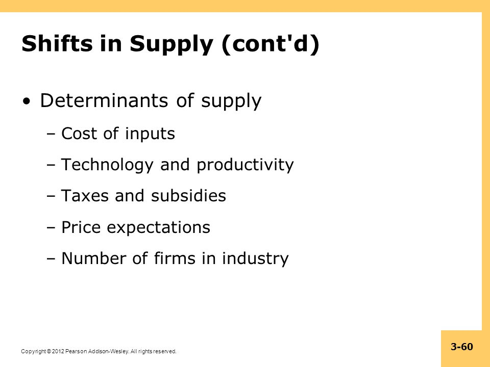Copyright © 2012 Pearson Addison-Wesley. All rights reserved. 3-60 Shifts in Supply (cont'd) Determinants of supply –Cost of inputs –Technology and pr