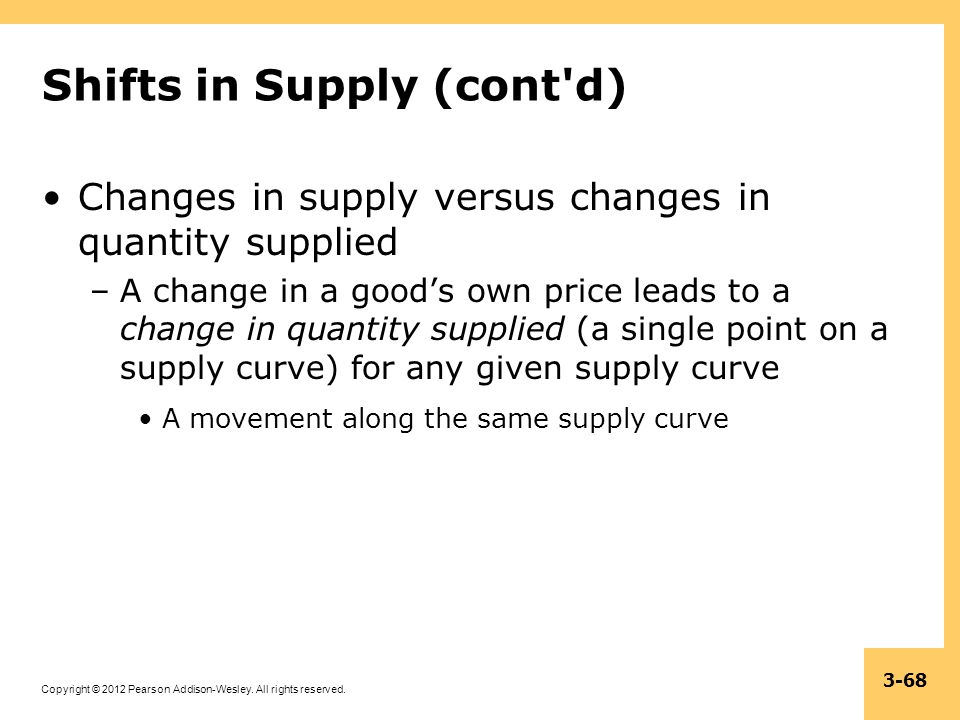 Copyright © 2012 Pearson Addison-Wesley. All rights reserved. 3-68 Shifts in Supply (cont'd) Changes in supply versus changes in quantity supplied –A