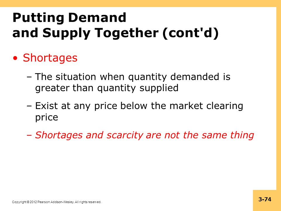 Copyright © 2012 Pearson Addison-Wesley. All rights reserved. 3-74 Putting Demand and Supply Together (cont'd) Shortages –The situation when quantity