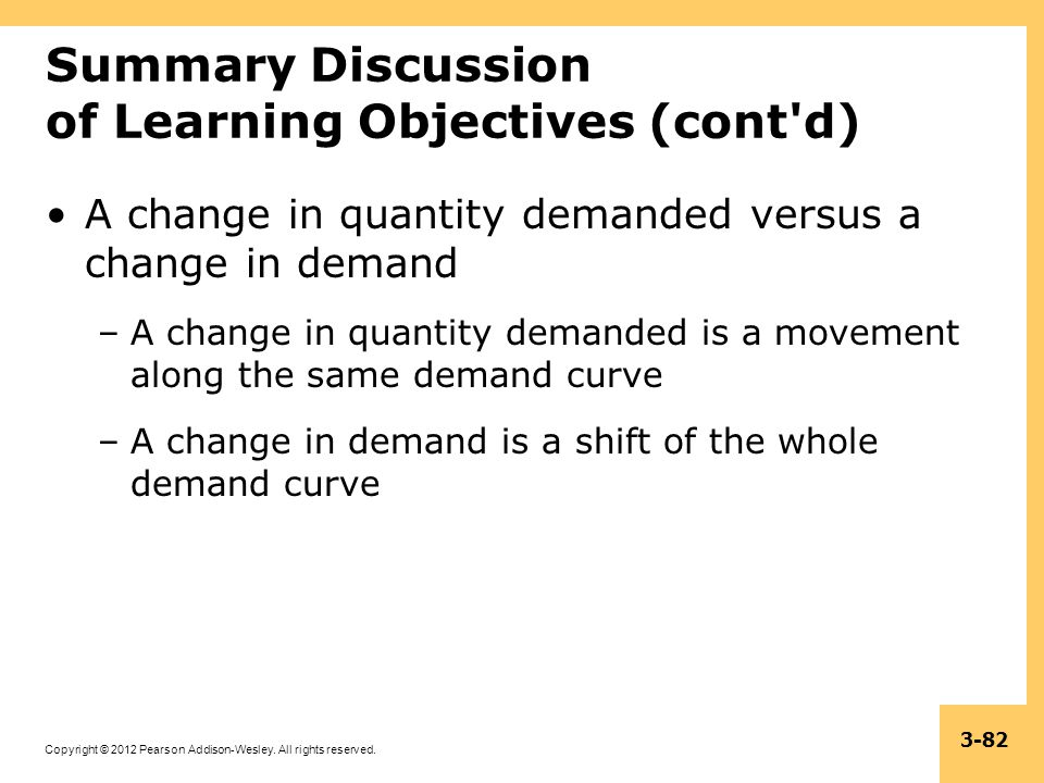 Copyright © 2012 Pearson Addison-Wesley. All rights reserved. 3-82 Summary Discussion of Learning Objectives (cont'd) A change in quantity demanded ve