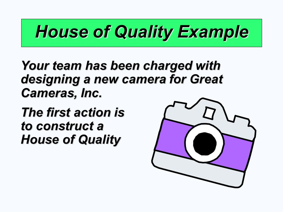 House of Quality Example Your team has been charged with designing a new camera for Great Cameras, Inc. The first action is to construct a House of Qu