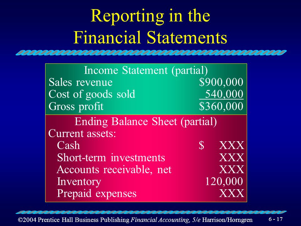 ©2004 Prentice Hall Business Publishing Financial Accounting, 5/e Harrison/Horngren 6 - 16 Recording Transactions and the T-Accounts Cost of Goods Sol