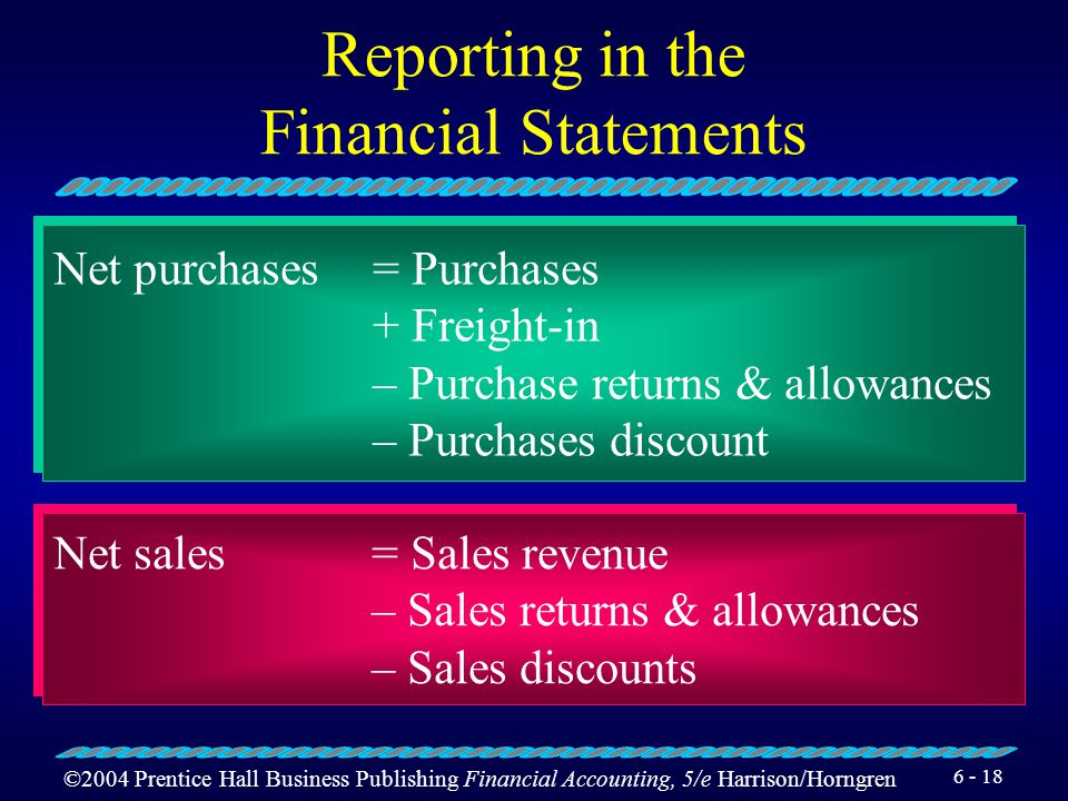 ©2004 Prentice Hall Business Publishing Financial Accounting, 5/e Harrison/Horngren 6 - 17 Reporting in the Financial Statements Income Statement (par