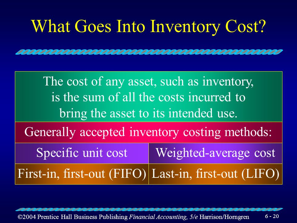 ©2004 Prentice Hall Business Publishing Financial Accounting, 5/e Harrison/Horngren 6 - 19 Learning Objective 3 Analyze the various inventory methods.