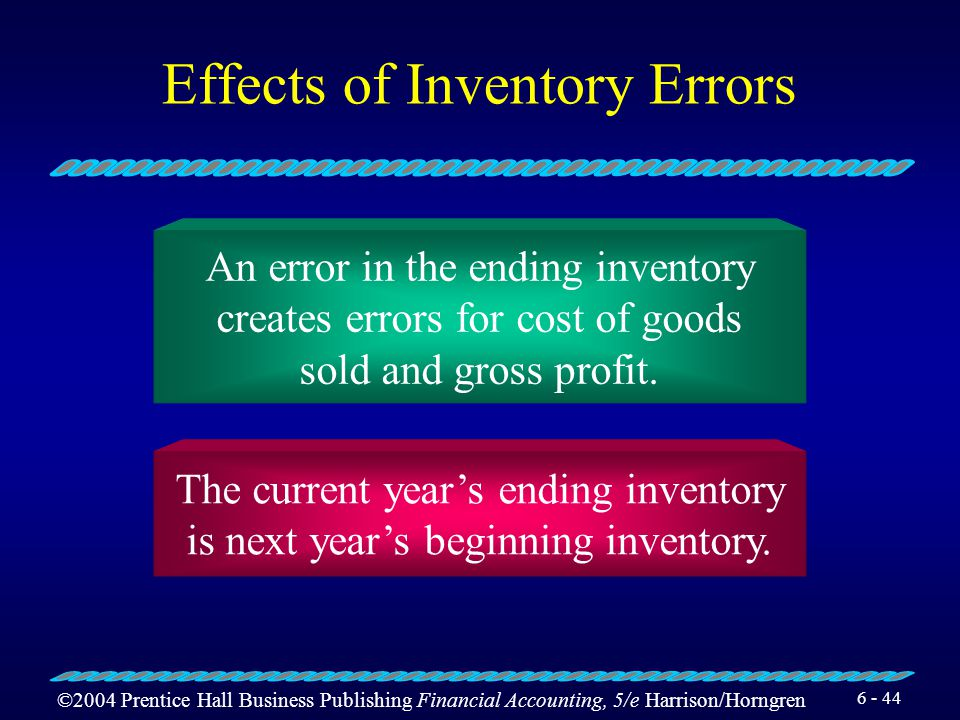 ©2004 Prentice Hall Business Publishing Financial Accounting, 5/e Harrison/Horngren 6 - 43 Show how inventory errors affect cost of goods sold and inc