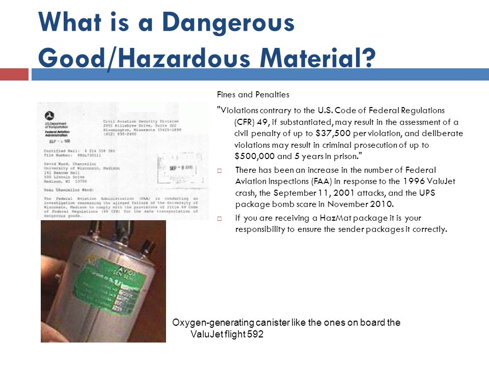 What is a Dangerous Good/Hazardous Material? Fines and Penalties