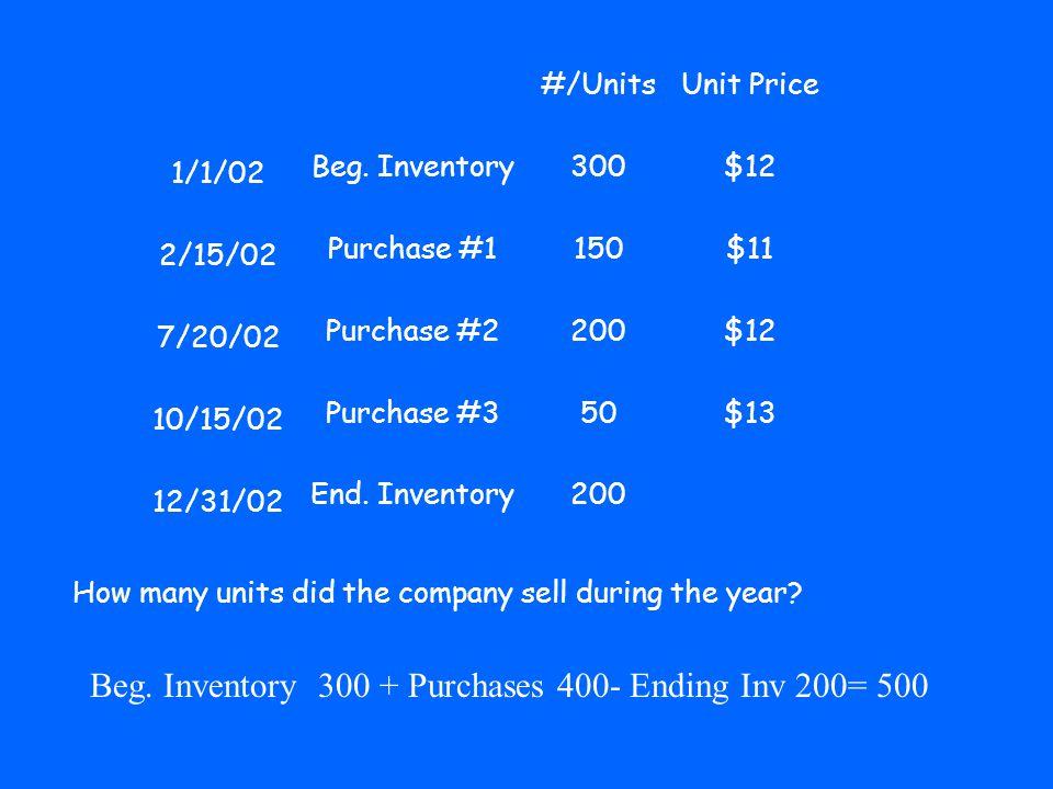 #/UnitsUnit Price 1/1/02 Beg.