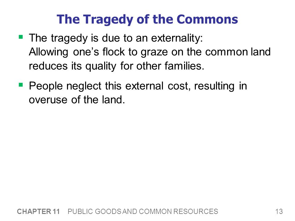 13 CHAPTER 11 PUBLIC GOODS AND COMMON RESOURCES The Tragedy of the Commons The tragedy is due to an externality: Allowing ones flock to graze on the common land reduces its quality for other families.