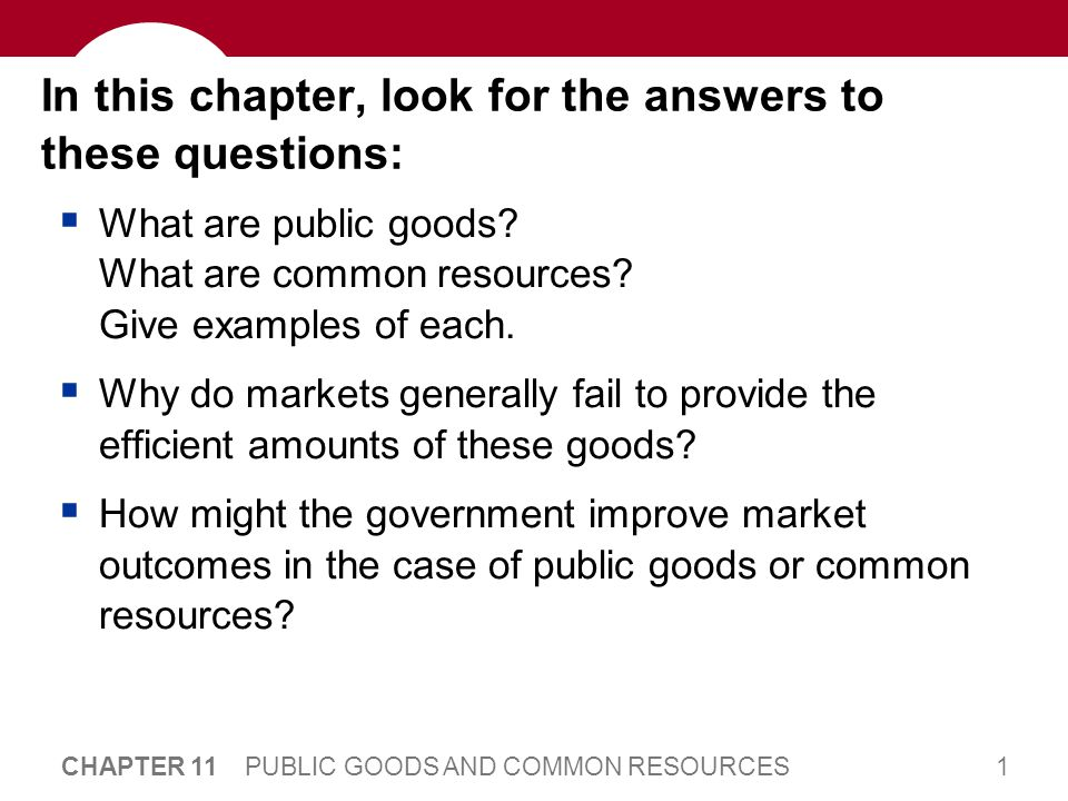1 CHAPTER 11 PUBLIC GOODS AND COMMON RESOURCES In this chapter, look for the answers to these questions: What are public goods.