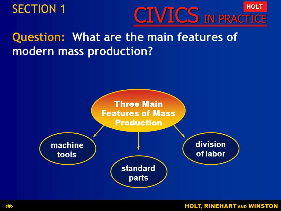 CIVICS IN PRACTICE HOLT HOLT, RINEHART AND WINSTON9 The Main Idea Producing goods is only the first step in filling consumers needs.