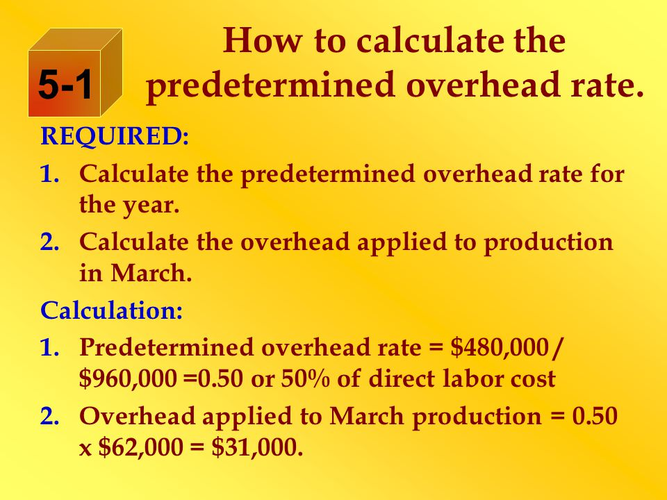 How to calculate the predetermined overhead rate. REQUIRED: 1.Calculate the predetermined overhead rate for the year. 2.Calculate the overhead applied