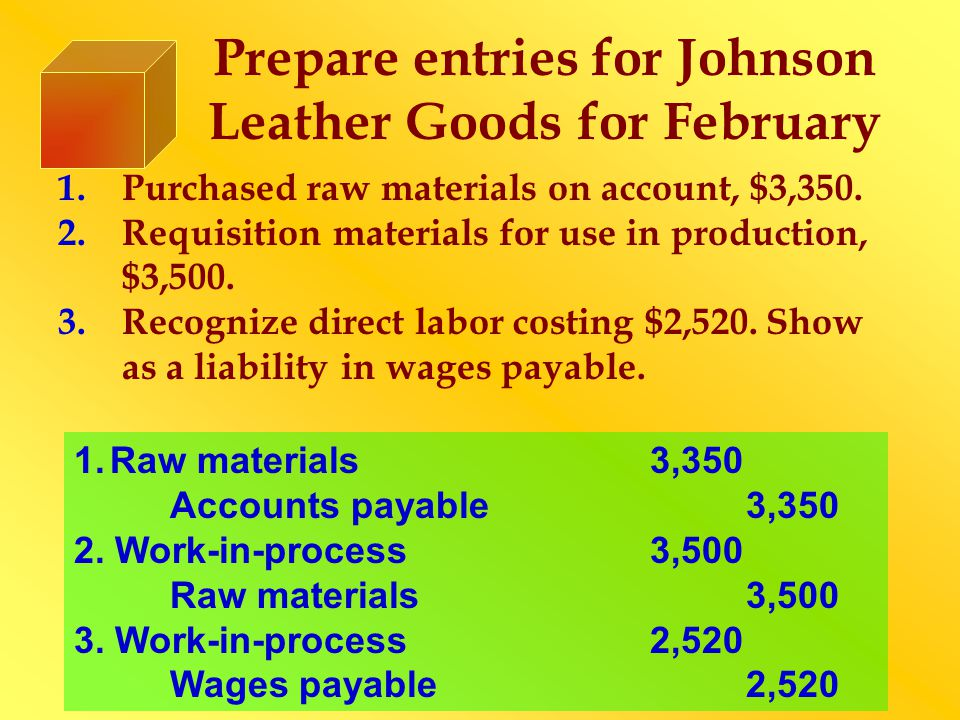 Prepare entries for Johnson Leather Goods for February 1.Purchased raw materials on account, $3,350. 2.Requisition materials for use in production, $3