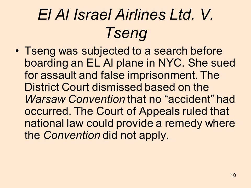 10 El Al Israel Airlines Ltd. V.
